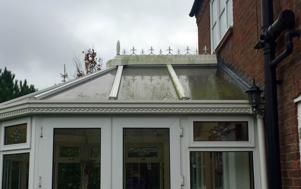 Window Cleaner in Shrewsbury, image of AG Window Cleaning - Conservatory roof - before picture